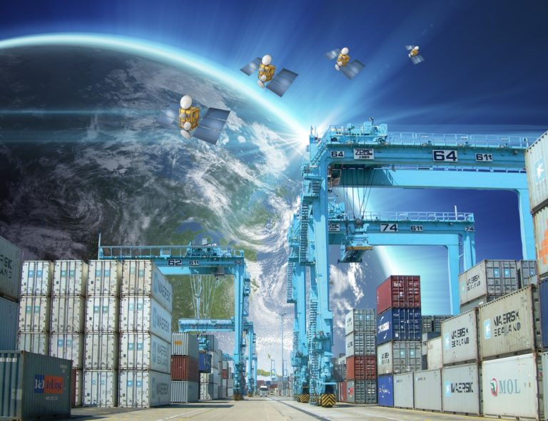 Container terminal with RTG cranes. Satellite tracking.